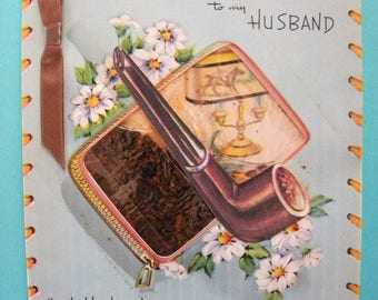 Unusual Vintage Unused Birthday Card with Real Tobacco for Husband Pipe Smoker