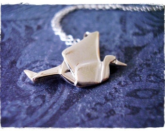 Silver Origami Crane Necklace - Sterling Silver Origami Crane Charm on a Delicate Sterling Silver Cable Chain or Charm Only