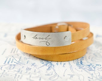lovely -  Adjustable Leather Wrap Bracelet