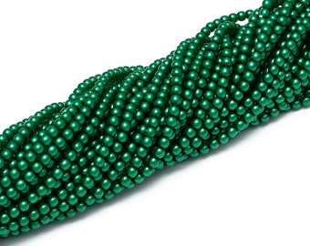 4mm Czech Glass Pearl - 70455 Emerald x 120pcs