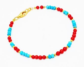 Genuine turquoise and coral beads  bracelet, beaded turquoise bracelet, 925 sterling silver bracelet, gold vermeil