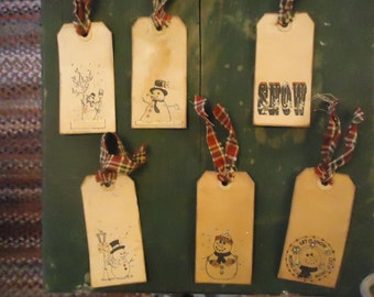 Six Primitive Hand Made Christmas Snowman Holiday Gift Hang Tags