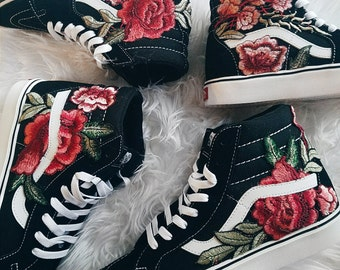 Unisex Custom Rose Floral Embroidered Patch Vans Sk8-HI