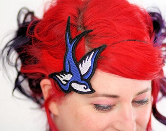 Retro Swallow Headband, Tattoo Style, Royal Blue and White