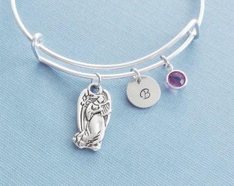 Angel Bracelet, Angel Playing Harp, Silver Bangle, Charm Bracelet, Bridesmaid Gift, Initial Bracelet, Swarovski Birthstone, Friend Birthday