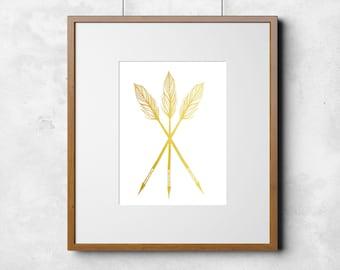 Gold Foil Arrows Tribal Print 8x10 or 11x14  Matte Options