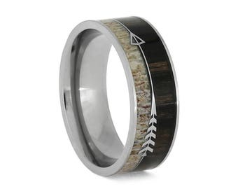 Deer Antler Wedding Band With Ironwood And Titanium, Signature Style