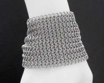 Premium Quality Ultra Wide 316 Stainless Steel Chain Maille Mesh Cuff Bracelet - Silver Tone