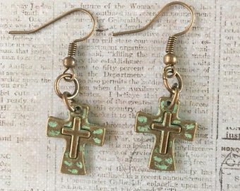CROSS Earrings Green Patina over Bronze Hammered Pewter