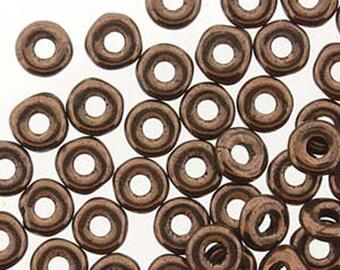 O Beads Jet Bronze Czech Glass Donut Ring Beads 3.8 x 1mm 6 grams