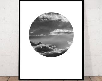 Photography Circle, Sky Photo, Cloud Poster, Nature Poster, Abstract Photo, Circle Poster, BW Wall Print, Download Art, Cloud Wall Art