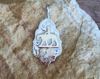 Pleasure Horse Pendent/ Artisan Handmade/ Sterling Silver and 12kt goldfill overlays/ premium cubic zirconia