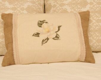 NEW!! Beautiful Linen Magnolia Accent Pillow