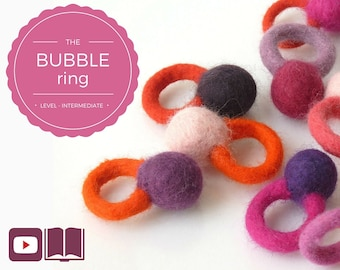 DIY - Video + PDF workshop seamless felted ring - Bubble ring - Intermediate level - 3 videos & 1 PDF - Instant download