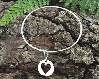 Silver bangle, silver heart charm, silver heart charm bangle, sterling silver, bridesmaid gift, girlfriend gift, teenage girl gift, mom gift