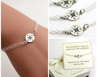 Free Shipping. Set of 3 Bridesmaids bracelet. Compass bracelet, best friends, sister bracelet., gift for her