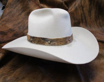 Cowboy Hat Band, SASS Hat Band, Hat Band, Cowgirl Hat Band, Hair On Brindle Cowhide Leather Hat Band with Antique Brass Umbrella Spots