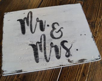 MR. & MRS. - Rustic Wood Sign Distressed White Fixer Upper Style Decor