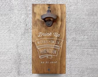 Personalized Beer Opener, Wall Mount Bottle Opener, Wedding Gift, Groomsmen Gift, Newlywed Gift, Beer Lover Gift, Christmas Gifts GA8006