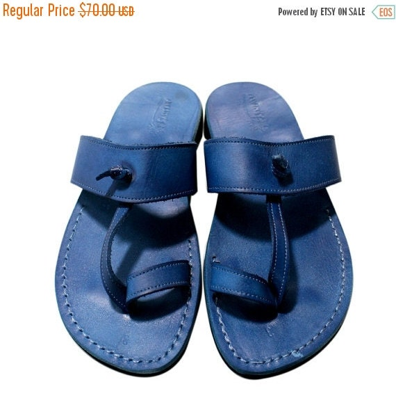 For Handmade amp; Unisex Leather Blue Leather Sandals Blue Flip Jesus Leather Women Men Twizzle Sandals Sandals Sandals Sandals Flops BxR0ntq