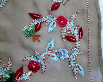 Vintage Embroidered Silk Scarf with Bonus Book