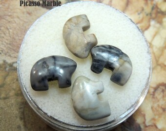 Picasso Marble Tiny Zuni Bear Beads you get Four in a Gem Jar