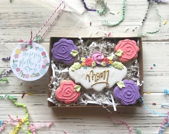 PREORDER Mother's Day Sugar Cookies - Floral Mom Sugar cookie Gift Box ARRIVES May 10-12 unless otherwise noted