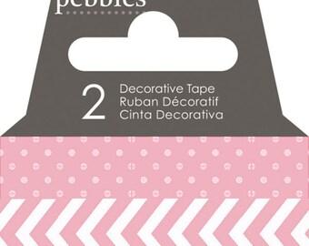 Pebbles Basics Dot & Chevron Washi Tape - Peony -- MSRP 3.00