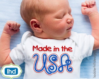 Made in the USA Embroidery--Independence Day Embroidery -- Fourth of July Embroidery Design SA029