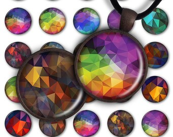 75% OFF SALE Digital Collage Sheet 1inch Round 25mm Circle Pendant Ring Printable Download PC029 Jewelry Making - Triangular abstraction