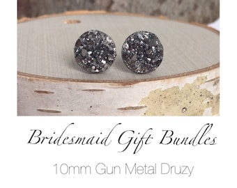 Bridesmaid Druzy Earrings - Gun Metal Druzy