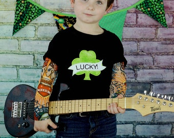Lucky Shamrock Tattoo Applique Tattoo Sleeve Shirt