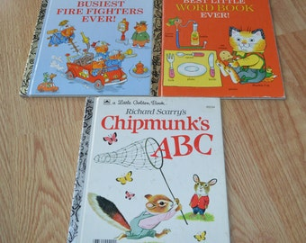 Three Richard Scarry's Little Golden Books: Best Little Word Book Ever! Chipmunk's ABC Busiest Fire Fighters Ever!