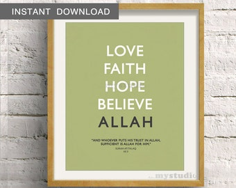 """Instant Download! Islamic Quranic Typography - Modern Wall Art -  8x10"""" Lime Green- Love, Hope, Faith, Believe, Allah"""