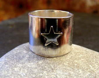 Silver Statement Shining Star ring  Sterling Statement wide band celestial star ring
