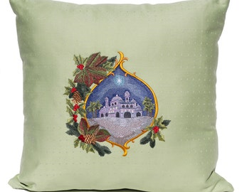 Embroidered Christmas Star Pillow Star of Bethlehem Christmas Decor Green Red Blue Gold Christmas Design Throw Pillow Cover Holly Leaves
