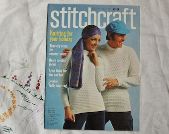 Vintage craft magazine, Stitchcraft, May 1970, knitting, tapestry, crochet, embroidery, rugmaking