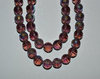 """10 mm Faceted Amethyst AB Colored Czech Glass Beads - 8"""" - half strand"""