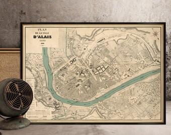 Alais map - Plan de la ville d'Alais - Old map print
