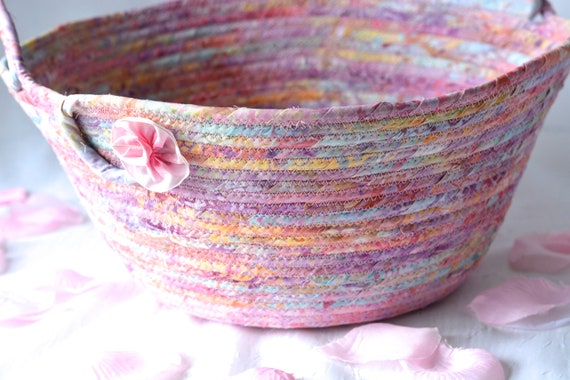 Flower Girl Basket, Girl Easter Basket, Handmade Pink Batik Bucket, Gorgeous Fiber Pottery Basket, Wedding Decoration