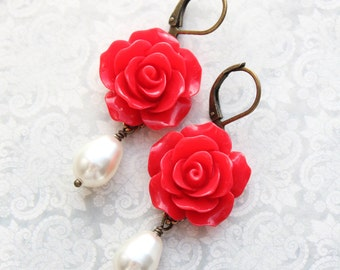 Red Rose Earrings White Pearl Drop Leverback Earrings Bright Red Wedding Vintage Style Nickel Free Glam Jewelry For Her Romantic Gift