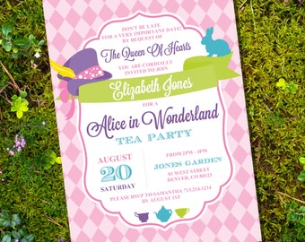 Mad Hatter Tea Party Invitation - Alice in Wonderland Tea Party - Instant Download and Edit File at home with Adobe Reader