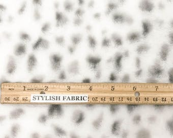 White Gray Dalmatian Polka Dot Rabbit Faux Fur Fabric by the Yard - Style 5049