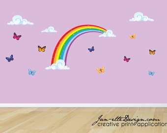 Removable and Reusable Bedroom Wall decals,Girls Rainbow butterflies and clouds Fabric Wall Decal