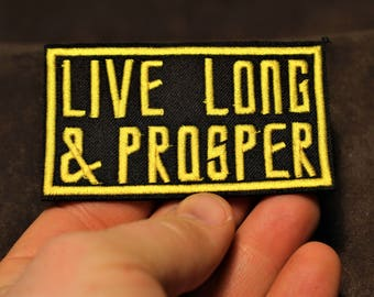 Live long and prosper, Star Trek themed iron on patch, pop culture