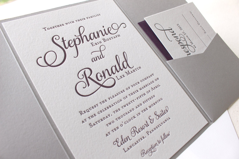The Violet Suite Modern Letterpress Wedding Invitation