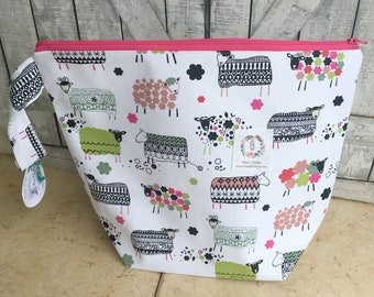 Colorful Sheep Knitting Project Bag|Crochet Project Bag|Knitting Bag|Embroidery Project Bag|Cross Stitch Project Bag|Gift for Knitter