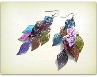 Long Rainbow Silver Tone Earrings Leaf Charm Earrings Filigree Leaf Earrings Long Dangle Earrings UK Shop Festival Summer Accessories