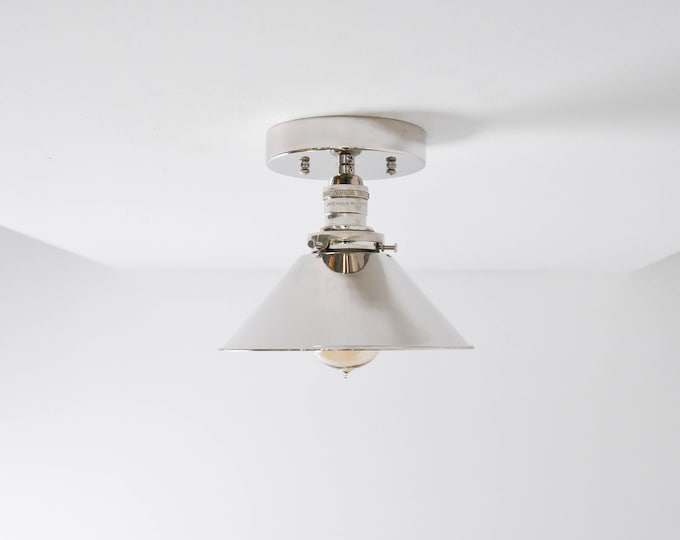 Modern Semi Flush Lighting Polished Nickel Silver with Metal Cone Shade Simple Minimal Kitchen Island