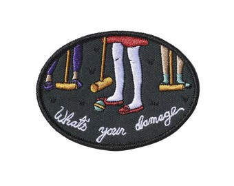 Heathers What's Your Damage Croquet embroidered iron-on patch